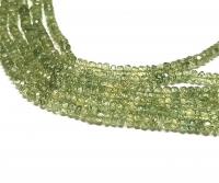 grüner ApatitA Buttonstrangfacettiert ca. 3,5 - 4,5mm / ca. 40 cm