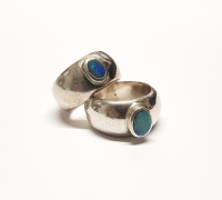 Opal Doubletten Fingerring in 925 Silber