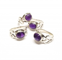 Amethyst Fingerring Cabochon in 925 Silber