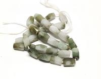 Jadeit Jade gefleckter Rechteckstrang facettiert ca. 6 x 12 mm / ca. 39 cm