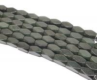 Jadeit Jade dunkelgrüner Rechteckstrang facettiert ca. 6 x 12 mm / ca. 39 cm