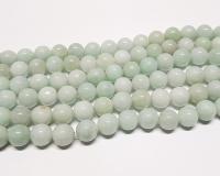 Jadeit - Jade hellgrüner Kugelstrang aus Burma-Jade ca. 12-13 mm / ca. 50 cm