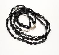 schwarzer Spinell Halskette oval facettiert fac. ca. 4-6 mm / 45 cm mit Silberkarabiner