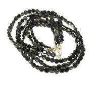 schwarzer Spinell Halskette rund facettiertca.6 mm/ 45 cm mit Silberkarabiner