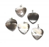 10 x Herz - Anhänger ca. 20 mm aus Muschel mit Stiftöse