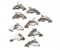 10 x Delphin - Anhänger ca. 21x29 mm aus Regenbogenmuschel mit Stiftöse