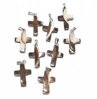 10 x Kreuz - Anhänger ca. 28x15 mm aus Regenbogenmuschel mit Stiftöse
