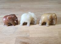 3er Set Elefant aus buntem Jaspis A/B Qualität ca. 5,0x3,9x2,5 cm - Sonderposten