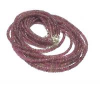 roter Turmalin / Rubellit Halskette facettiert ca. 3,5-4,5 mm / ca. 45 cm mit Silberkarabiner
