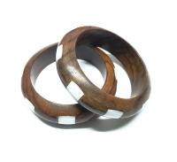 2er Set Armreif aus Sono - Holz miteingelegtem Perlmutt - ca. 60-65 mm - Einzelset