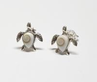 Operculum Ohrstecker Schildkröte in 925 Silber ca 10x10 mm - Einzelstück