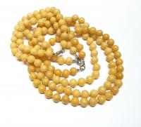 Aragonit gelb Halsketteeinzeln geknotet ca. 8 mm / ca. 50 cm