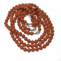 roter Jaspis Halsketteeinzeln geknotet ca. 8 mm / ca. 50 cm