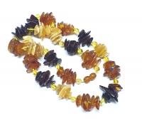 Bernstein Halskette Freiform Multicolor ca. 16 mm / ca. 59 cm - Einzelstück