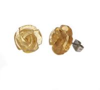 BernsteinOhrstecker Rose graviert ca. 12-13 mm - Einzelset