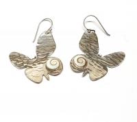 Operculum Ohrhänger Schmetterling in 925 Silber gehämmert ca. 42x25 mm