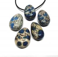 5er Set K2-Stein Granit mit Azurit TrommelsteinAnhänger gebohrt