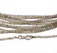 grauer Mondstein Kugelkettefacettiert ca. 2 mm/ ca. 45 cm mit Silberkarabiner