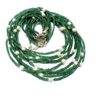 Aventurin grün Halskette Röhrenform mit Zuchtperle ca. 2-3mm / ca. 45cm mit Silberkarabiner