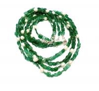 Aventurin grün Halskette Rechteck mit Zuchtperle ca. 5mm / ca. 45cm mit Silberkarabiner - Sonderposten