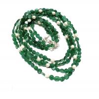 Aventurin grün Halskette Disk mit Zuchtperle ca. 6mm / ca. 45cm mit Silberkarabiner - Sonderposten