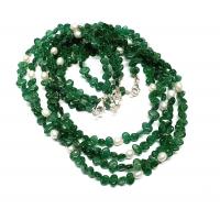 Aventurin grün Halskette Oval mit Zuchtperle ca. 6-7 mm / ca. 45cm mit Silberkarabiner - Sonderposten