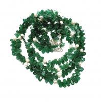Aventurin grün Halskette flache Tropfen mit Zuchtperle ca. 5-7 mm / ca. 45 cm mit Silberkarabiner - Sonderposten