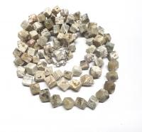 Ozeanjaspis Halskette Würfel gedreht ca. 8-11 mm / ca. 45 cm mit Silberkarabiner - Sonderposten