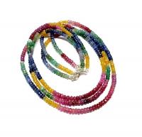 Saphir / Rubin / Smaragd Halskette Button facettiert ca. 4 - 5 mm / ca. 45 cm mit 925 Silberkarabiner