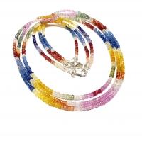 Saphir multicolor Halskette Button facettiert A-Qualität ca. 2,5 - 3,5 mm / ca. 45 cm mit 925 Silberkarabiner