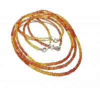 Saphir gelb-orange Halskette Button facettiert A-Qualität ca. 2,5 - 3 mm / ca. 45 cm mit 925 Silberkarabiner