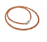 Saphir orange Halskette Button facettiert A-Qualität ca. 2,5 - 3 mm / ca. 45 cm mit 925 Silberkarabiner / Einzelstück