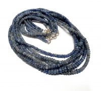 Saphir Halskette Button ca. 3 - 5 mm / ca. 45 cm mit 925 Silberkarabiner