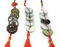 Feng Shui Glücksbringer mit 5 Jade Glücksmünzen ca. 30 mm / ca. 30 cm