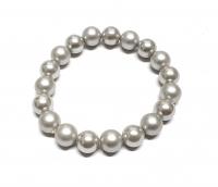 Perlen Armband Silbergrau aus Muschelkern poliert / gefrostet ca. 10 mm / ca. 19 cm