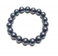 Perlen Armband petrolfarben aus Muschelkern ca. 10 mm / ca. 19 cm