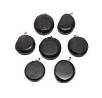 Schörl ( schwarzer Turmalin ) Scheiben Anhänger an Stiftöse aus 925 Silber ca. 25-35 mm