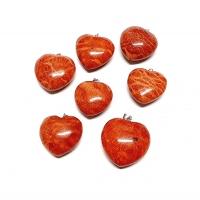 Schaumkoralle Herz Anhänger ca. 25-30 mm an Stiftöse aus 925 Silber