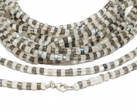 Labradorit / weißer Labradorit Halskette facettiert ca.5-6 mm / ca. 45 cm mit 925 Silberkarabiner
