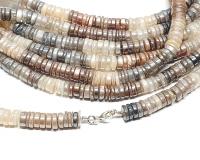 Mondstein Halskette Scheibe bedampft ca.7-8 mm / ca. 45 cm mit 925 Silberkarabiner