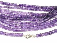 Amethyst Halskette facettiert ca. 4-5 mm / ca. 45 cm mit 925 Silberkarabiner
