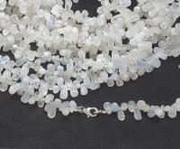 weißer Labradorit Halskette Tropfen ca. 8-10 mm / ca. 45 cm mit 925 Silberkarabiner