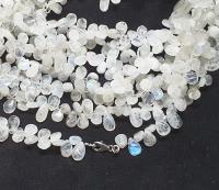 weißer Labradorit Halskette Tropfen ca. 9-12 mm / ca. 45 cm mit 925 Silberkarabiner
