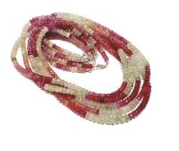Saphir pink Halskette Button facettiert ca. 4 - 5 mm / ca. 45 cm mit 925 Silberkarabiner