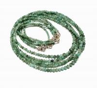 Smaragd Halskette Kugel ca. 2-4 mm / ca. 45 cm mit 925 Silberkarabiner