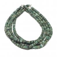 Smaragd Halskette Scheibe ca. 6-9 mm / ca. 45 cm mit 925 Silberkarabiner