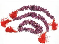 Rubin natur Pampelstrang verlaufend ca.5x8 - 8x15 mm / ca. 15-17 cm