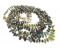 Turmalin Kristall Halskette grün mit Zwischenperlen ca. 5-12 mm / 42 cm mit Silberkarabiner