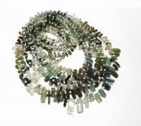 Turmalin Kristall Halskette grün/blau ca. 5-12 mm / 45 cm mit Silberkarabiner