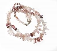 Turmalin Kristall Halskette pink ca. 5-12 mm / 45 cm mit Silberkarabiner
